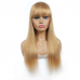 #27 Color Machine-made Human Hair Straight Wigs With Bang