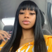 Clearence Sale Straight Virgin Human Hair U Shape Lace Front Wig With Bangs
