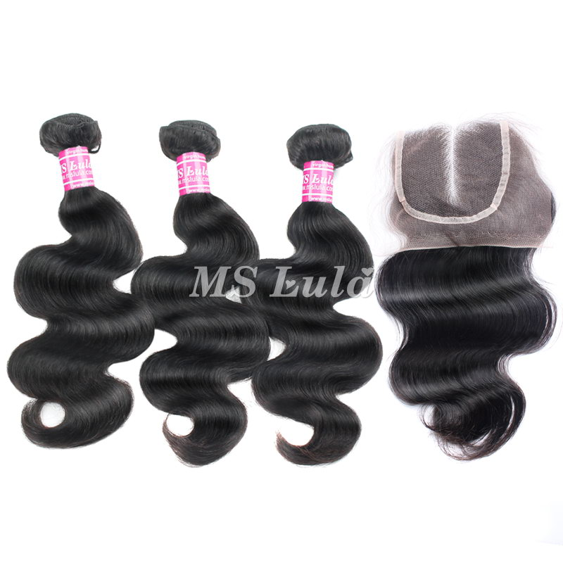 Virgin Hair Body Wave Bundles With 1 Lace Closure