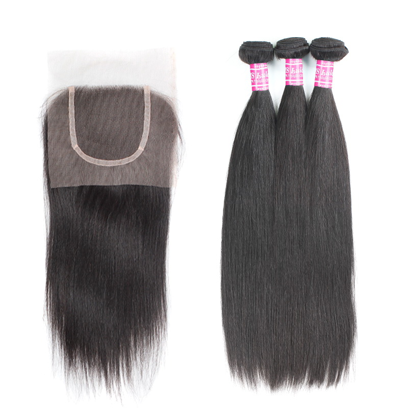 Virgin Hair Straight Bundles With 1 Lace Closure