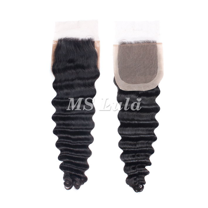 Virgin Hair Deep Wave Silk Base Closure 4X4 Size