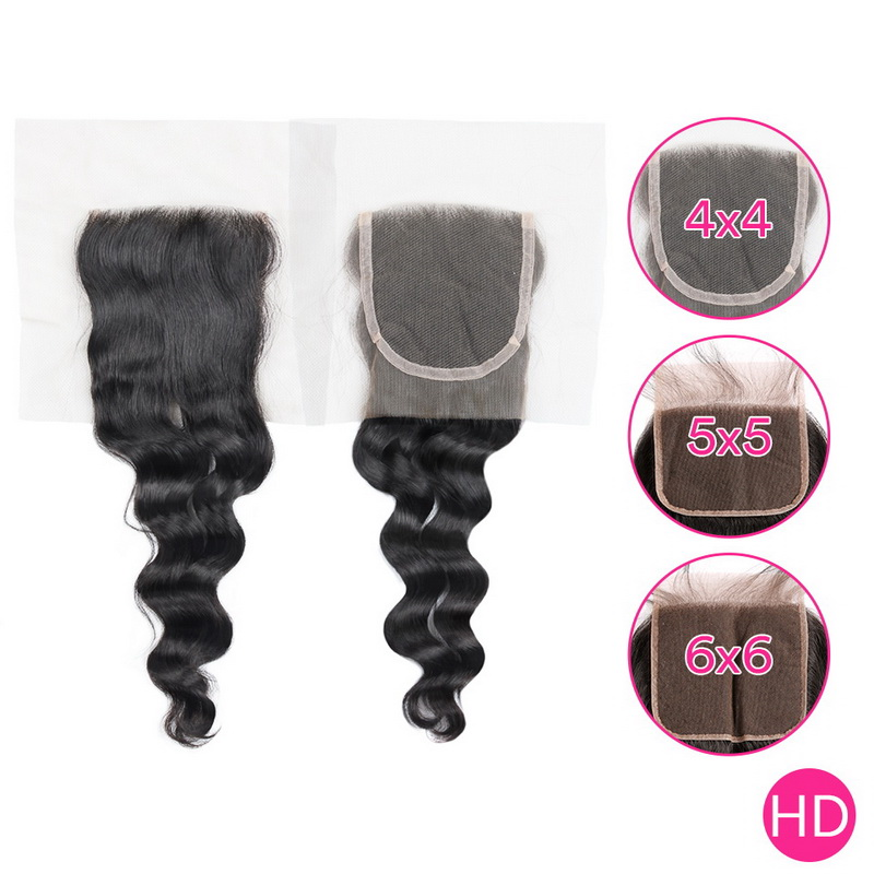 Virgin Hair Loose Weave 4X4 5x5 6x6 HD Lace Closure