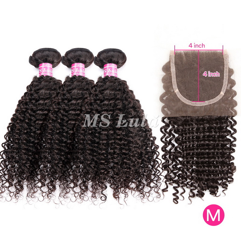 Virgin Hair Italy Roman Curl Weave bundles With 1 Lace Closure