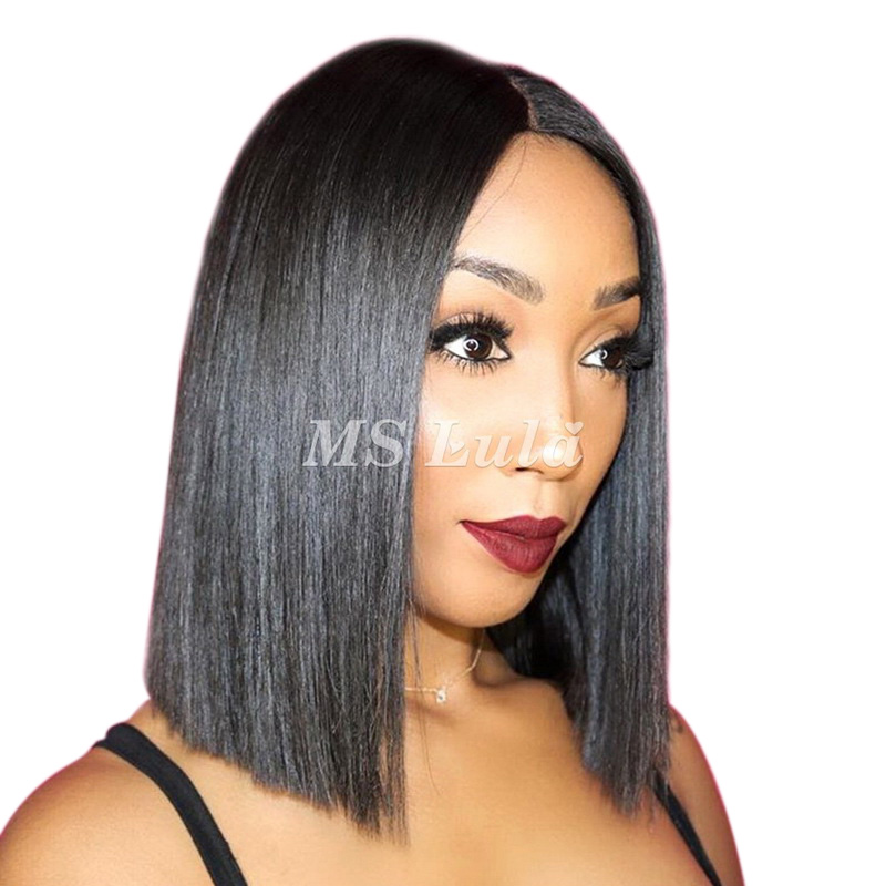 Bob Lace Frontal Wig With Middle Part Brazilian Hair Straight