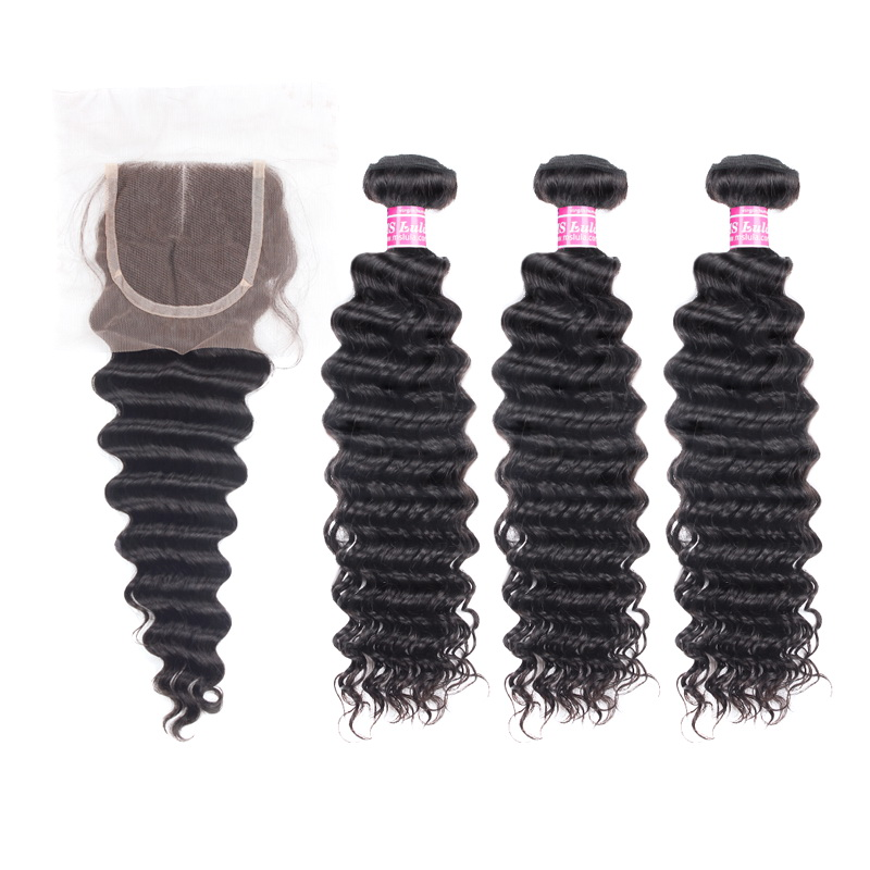 Virgin Deep Wave Hair Bundles With 1 Lace Closure