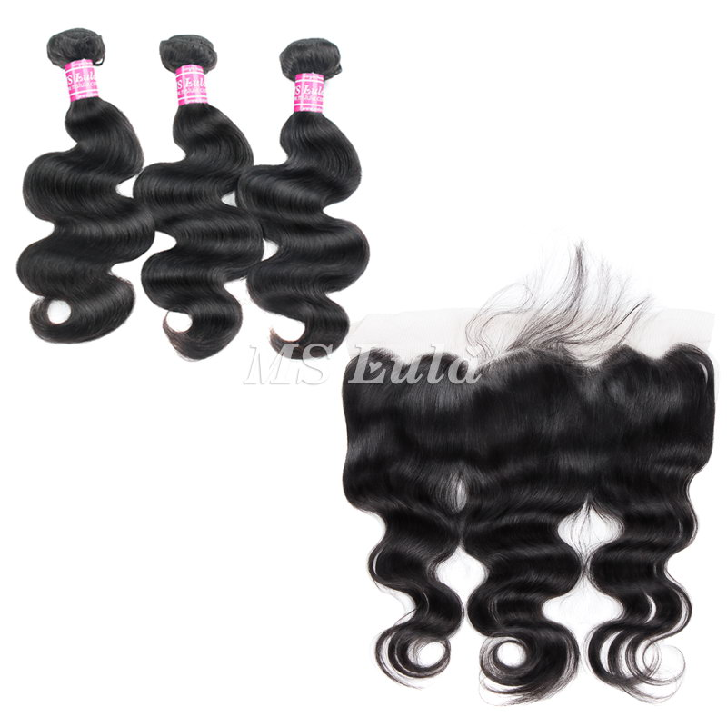 virgin body wave hair bundles with 4x13 lace frontal closure