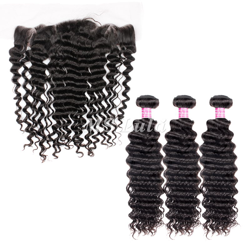 virgin deep wave hair bundles with 4x13 lace frontal closure