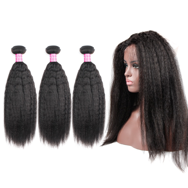 Virgin Hair Kinky Straight Bundles With 360 Full Lace Frontal