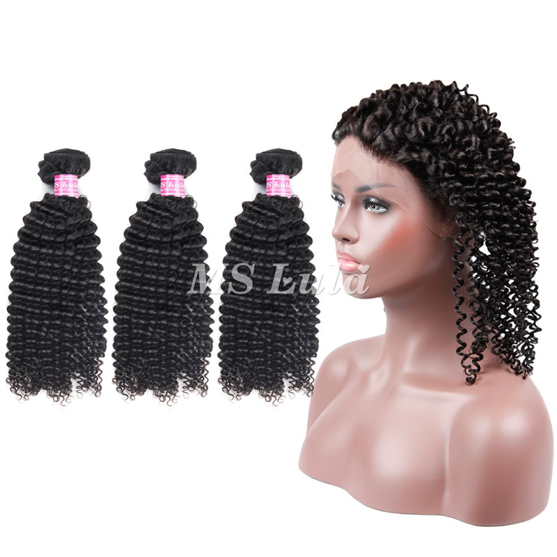 Virgin Hair Kinky Curly Bundles With 360 Full Lace Frontal