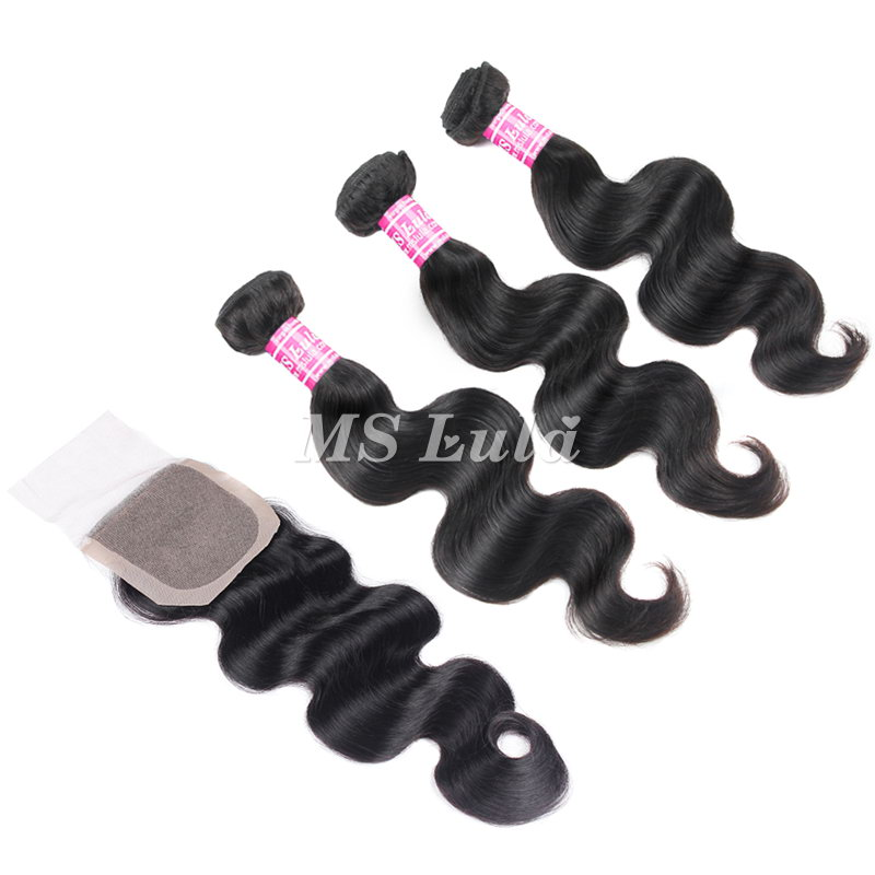 virgin body wave hair bundles with 4X4 silk base lace closure