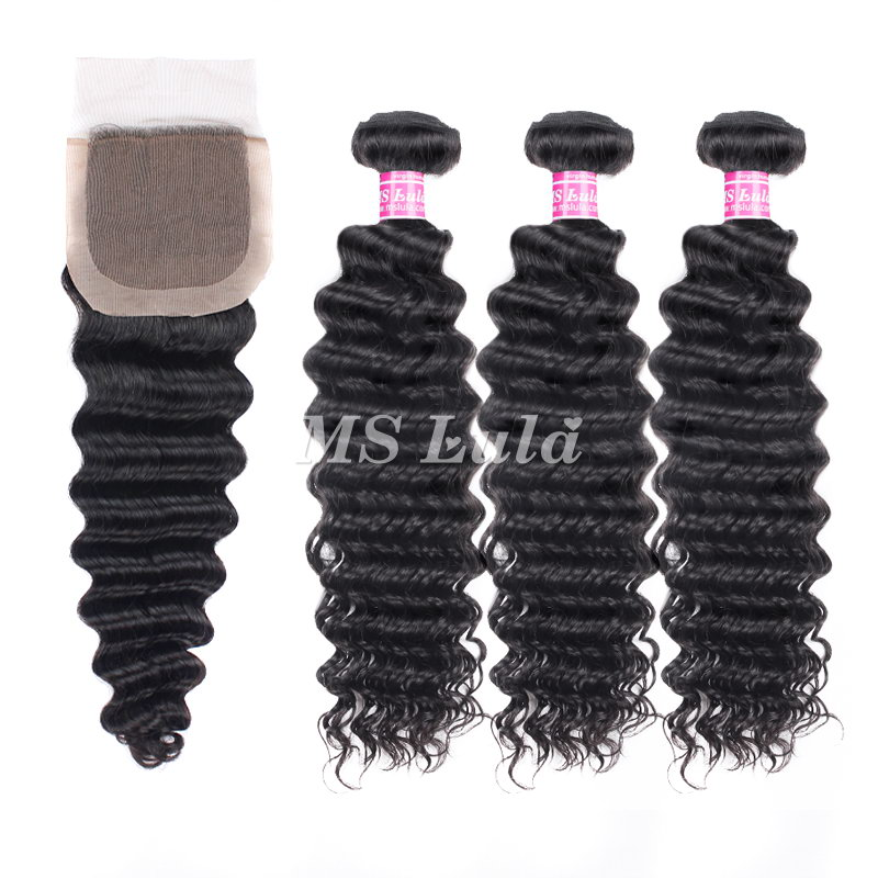 virgin deep wave hair bundles with 4X4 silk base lace closure