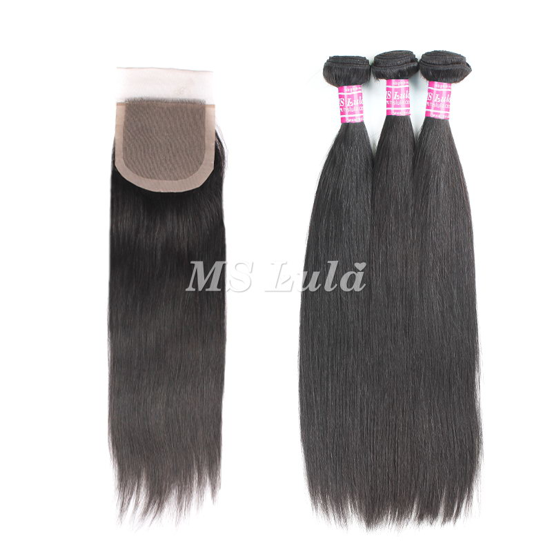 virgin straight hair bundles with 4X4 silk base lace closure