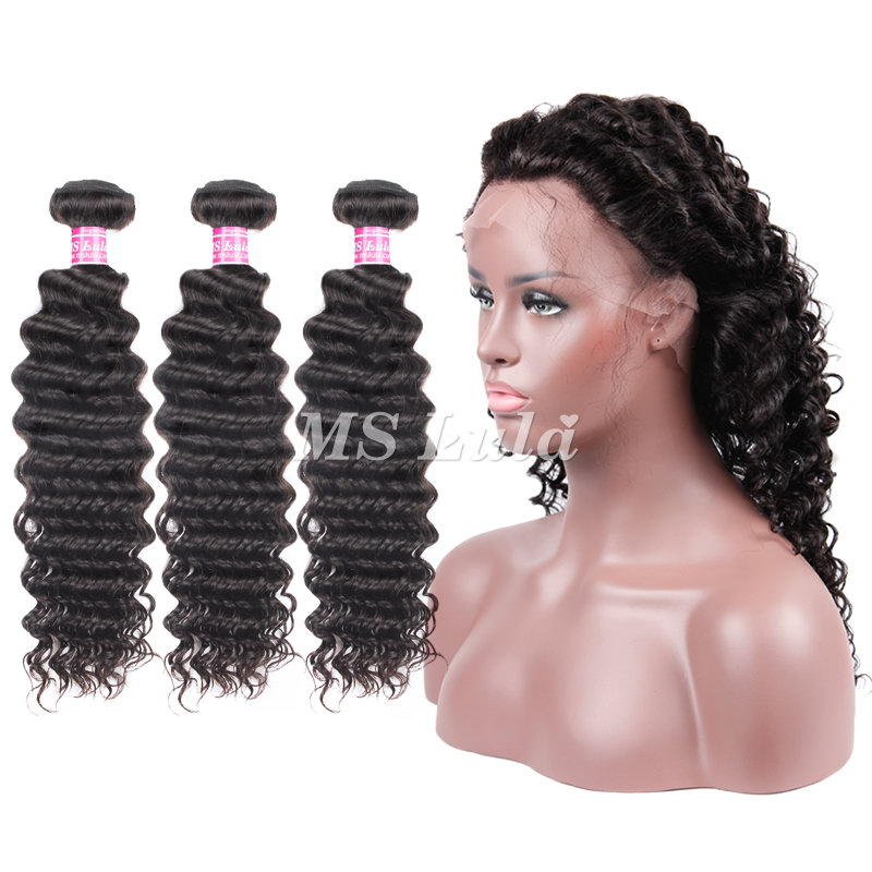 virgin deep wave weave bundles with 360 full lace frontal