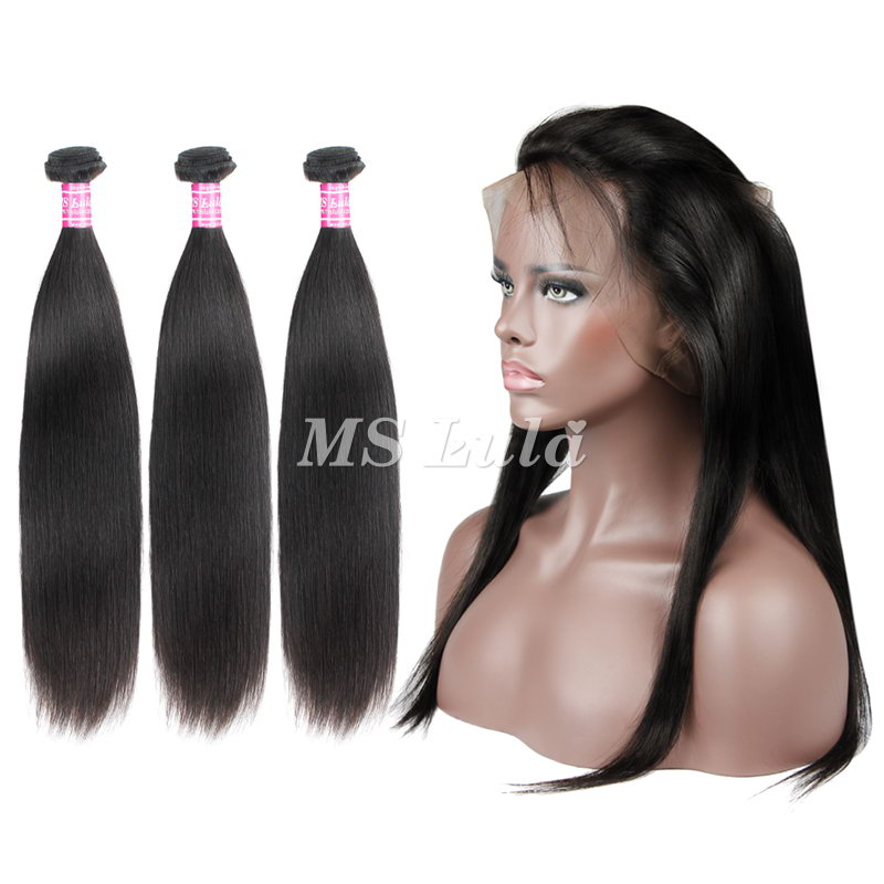 virgin straight hair weave bundles with 360 full lace frontal