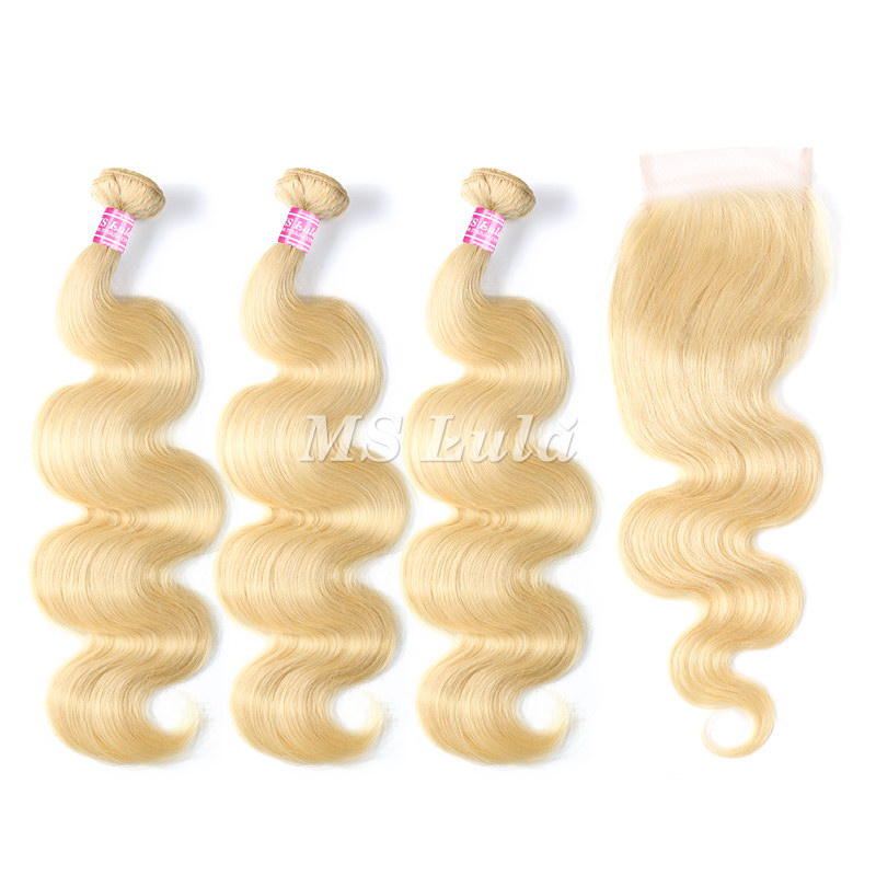 613# Virgin Body Wave Hair Bundles With 1 Lace Closure