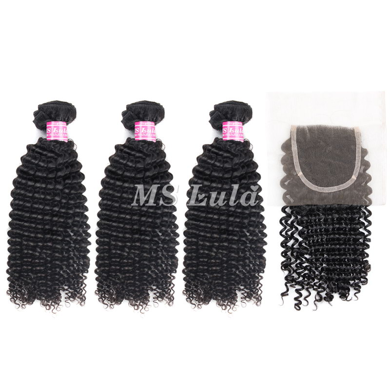 Virgin Hair Kinky Curl Weave bundles With 1 Lace Closure