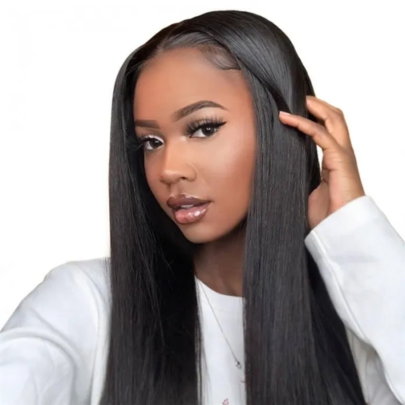 Straight Lace Closure Wig Made By Bundles With Closure 180% Density