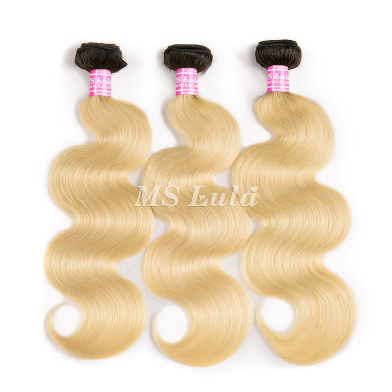 Virgin Body Wave Hair Bundles Black Ombre Root 613#