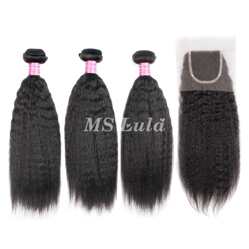Virgin Hair Kinky Straight Weave bundles With 1 Lace Closure