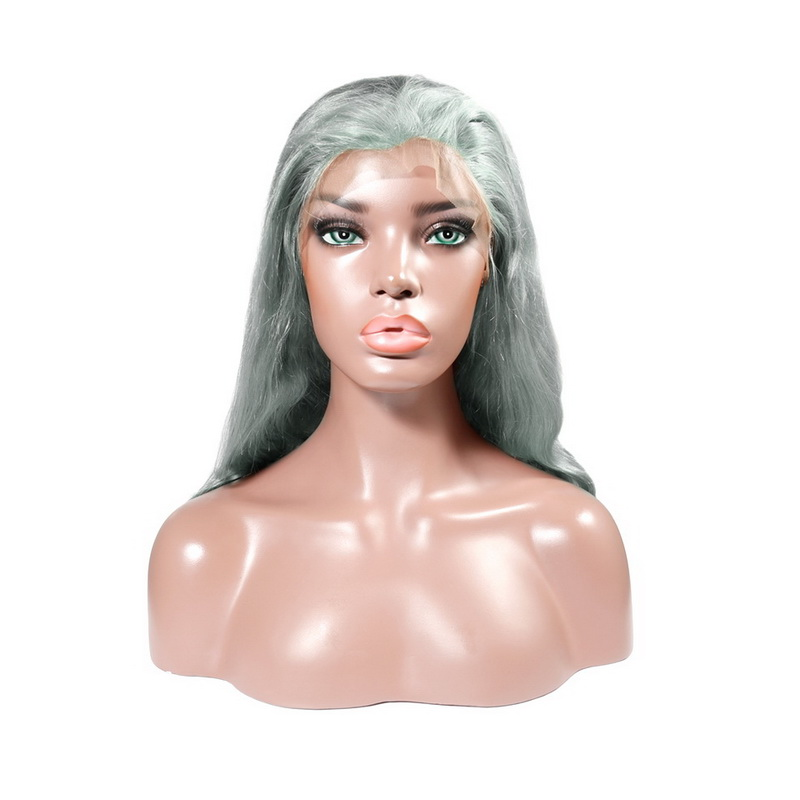 Silver Grey Color Body Wave Human Hair Lace Front Wig