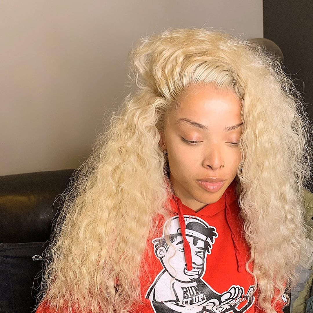 #613 Blonde Virgin Human Hair Lace Front Wig Deep Wave Curly