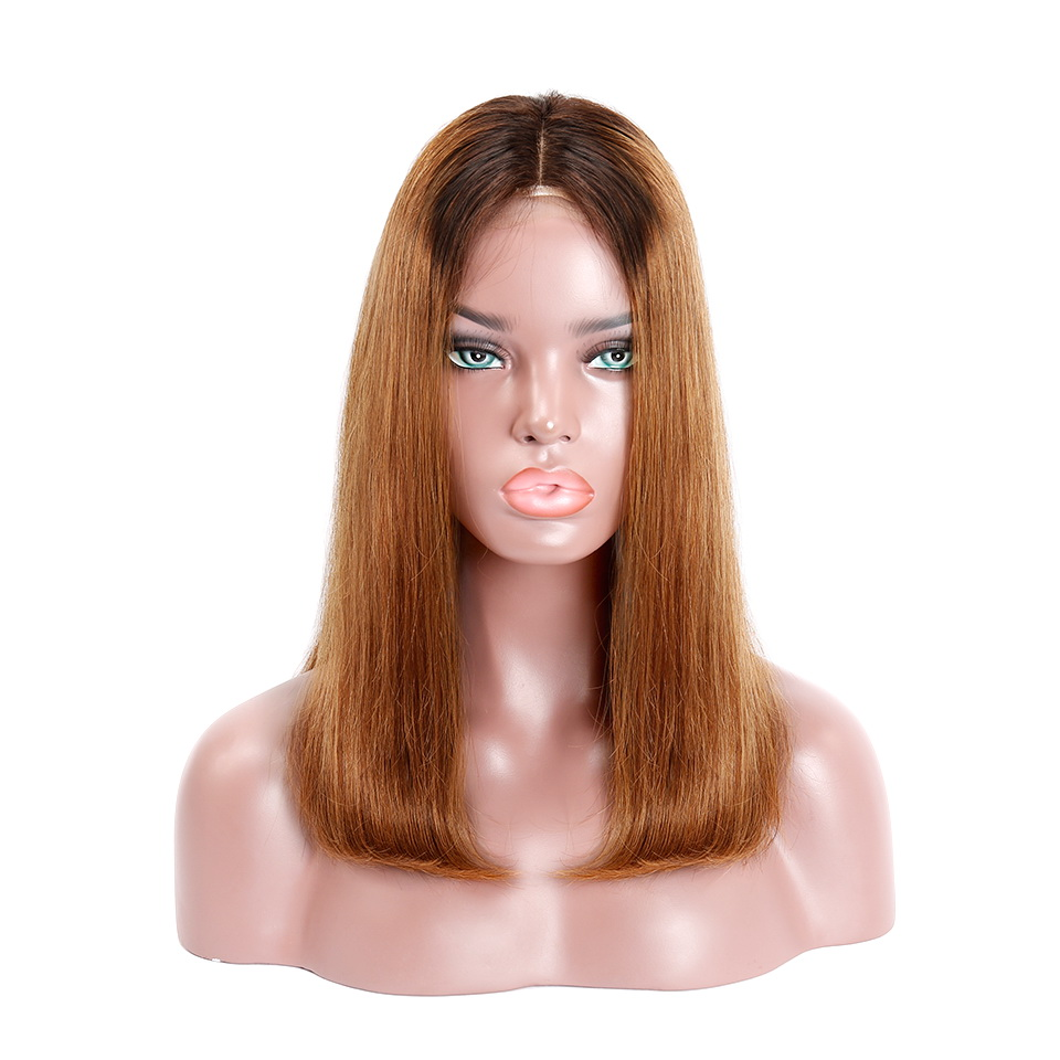 Machine-Made Black Root 1b/30 Ombre Color Straight BOB Lace Closure Wig