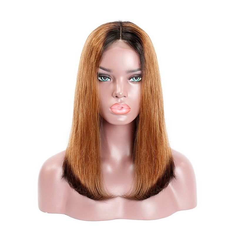 Machine-Made Black Root 1b/30/1b Ombre Color Straight BOB Lace Closure Wig