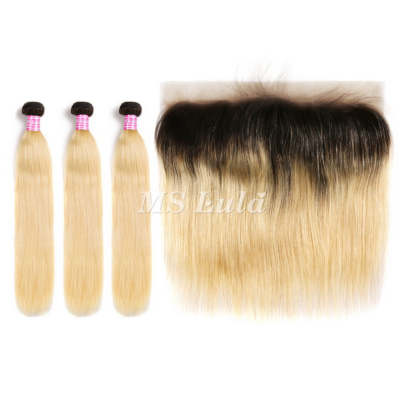 Black Roots 1b/613 Ombre Color Straight Virgin Hair Bundles With 13x4 Lace Frontal