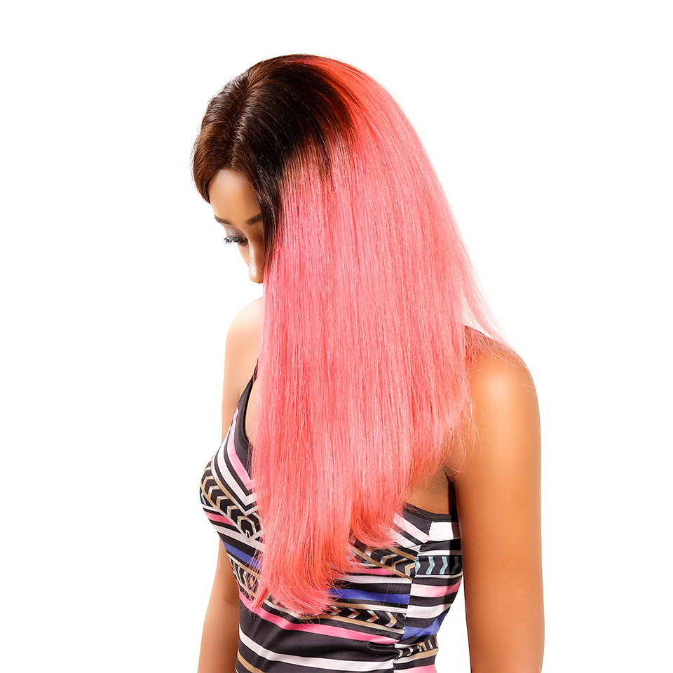 Machine-Made Black Root 1b/Pink Ombre Color Straight BOB Lace Closure Wig