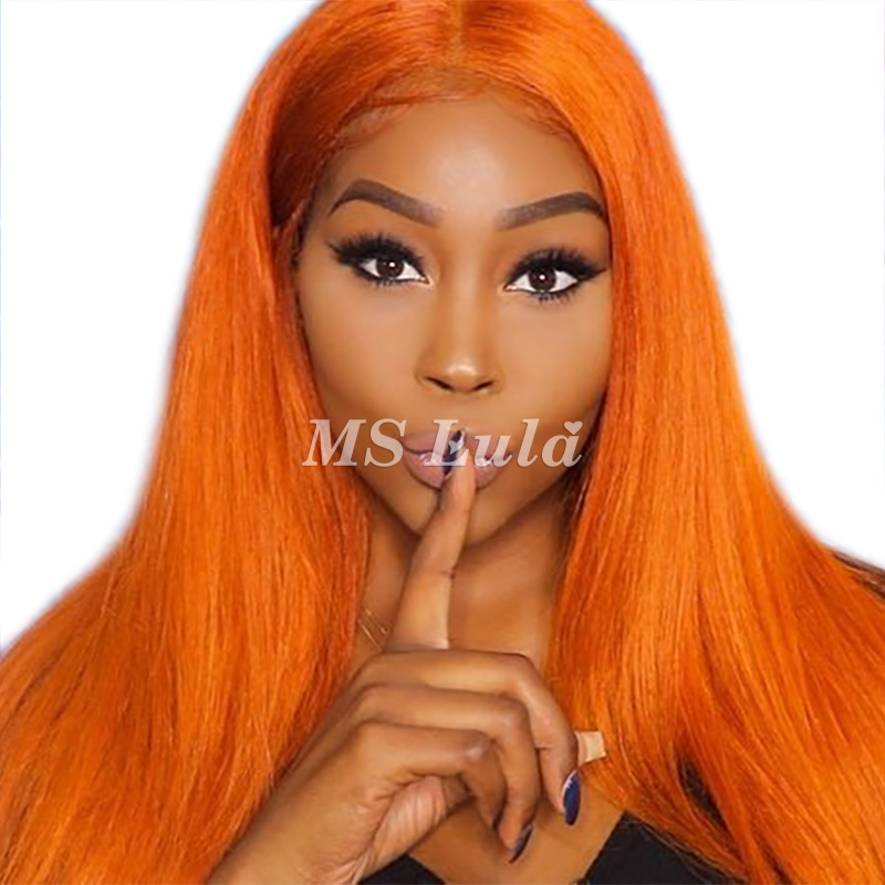 Orange/Candy/Light Orange Color Human Hair Silky Straight Lace Front Wig