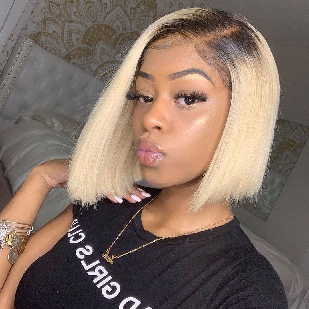 Black Root 1b/613 Ombre Blonde Color Short Bob Straight Human Lace Front Wig For Black Women