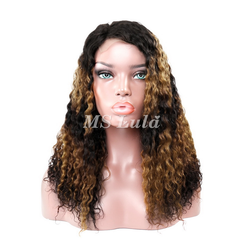 Machine-Made Black Root Yellow And Black Ombre Color Deep Wave Lace Closure Wig