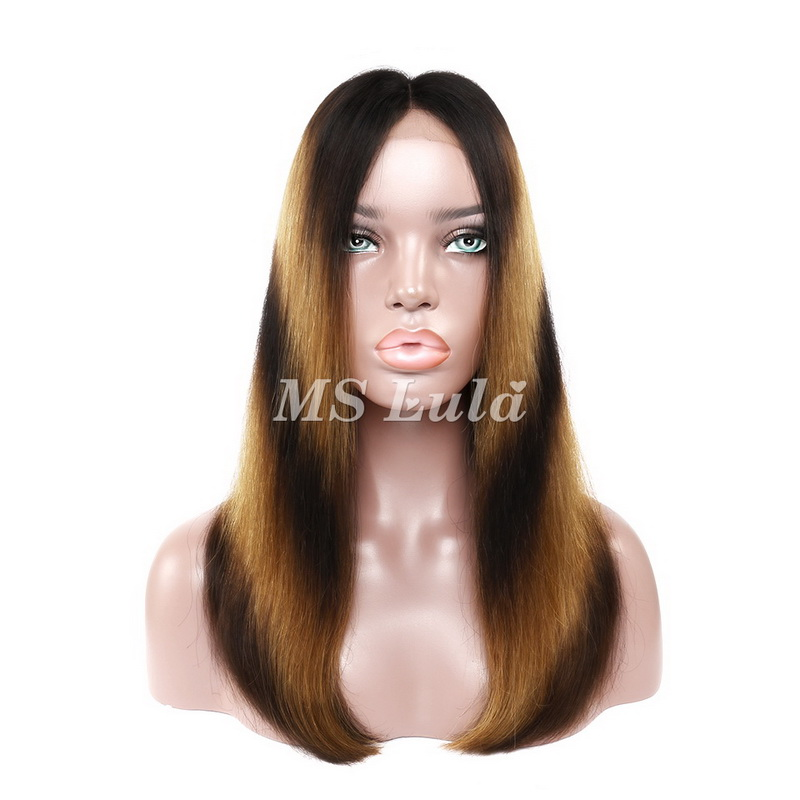 Machine-Made Black Root Yellow And Black Ombre Color Straight Lace Closure Wig