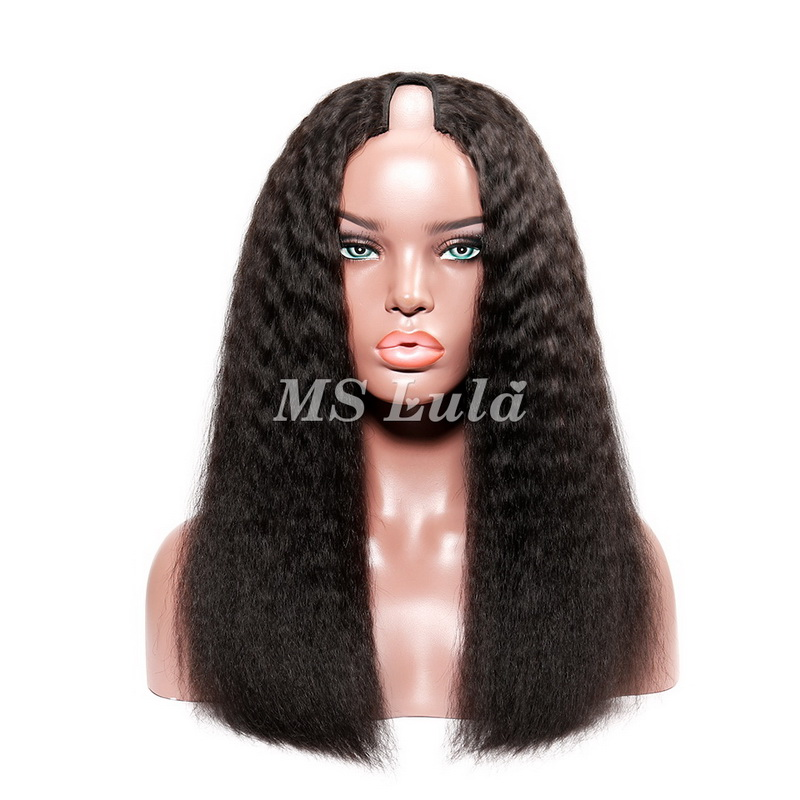 Virgin Human Hair U Part Kinky Straight Lace Front Wigs