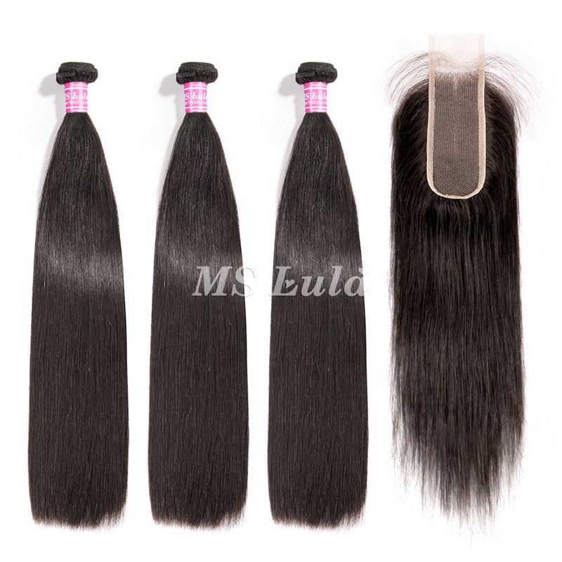 virgin straight hair bundles with 2x6 lace closure