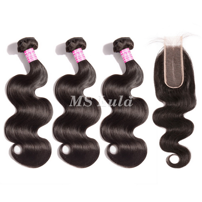 virgin body wave hair bundles with 2x6 lace closure