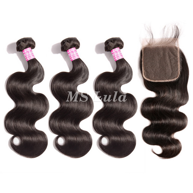 virgin body wave hair bundles with 5x5 lace closure