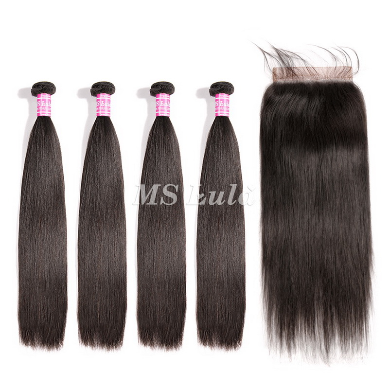 virgin straight hair bundles with 6x6 lace closure