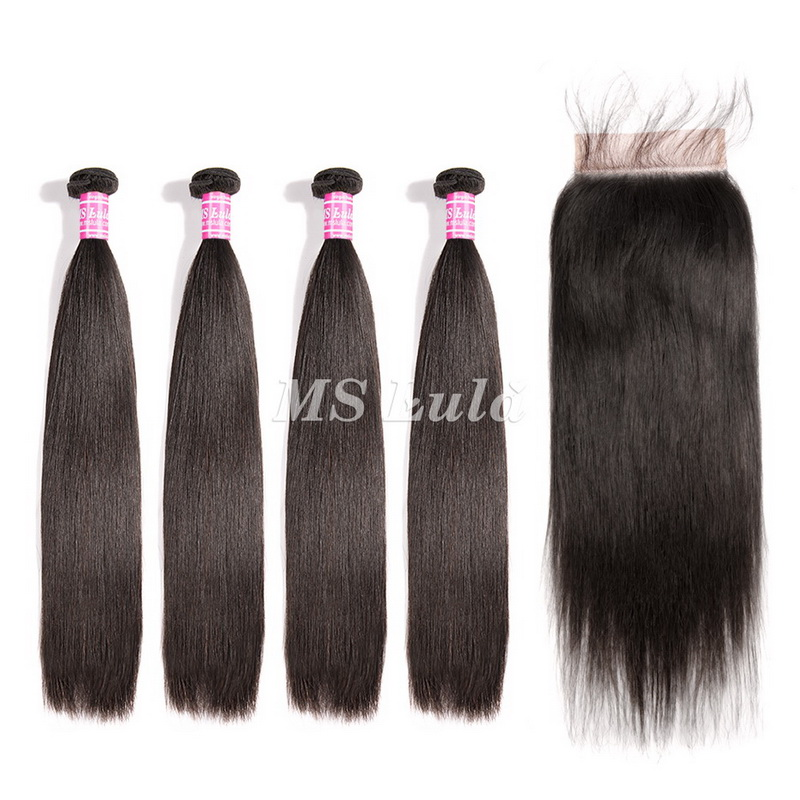 Virgin Straight Hair Bundles With 5X5 Lace Closure