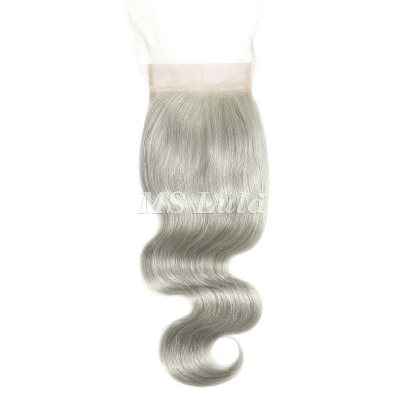 4X4 Grey Silver Virgin Hair Body Wave Lace Closure