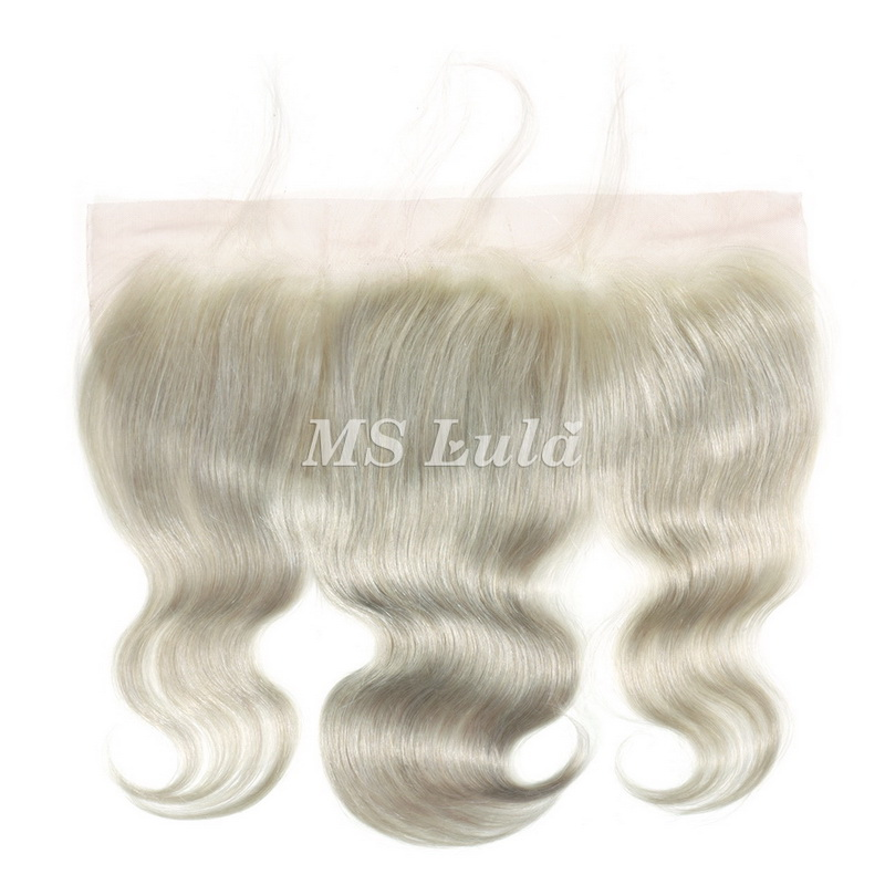 4X13 Grey Silver Virgin Hair Body Wave Lace Closure