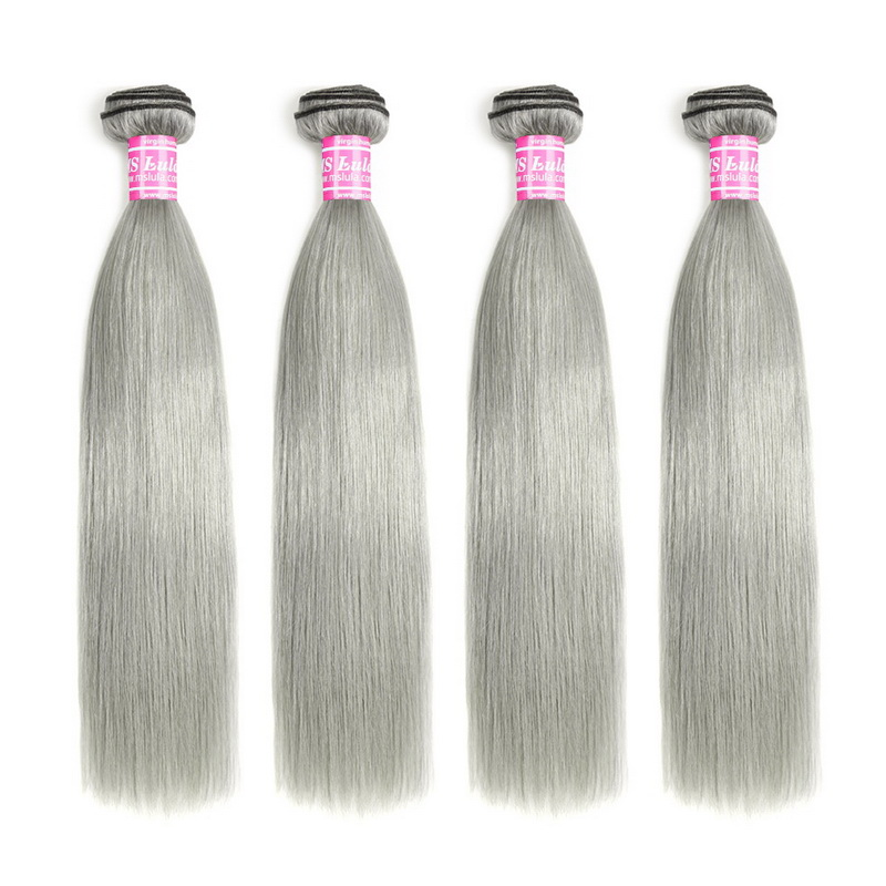 Virgin Hair Natural Straight Green Grey Hair Bundles