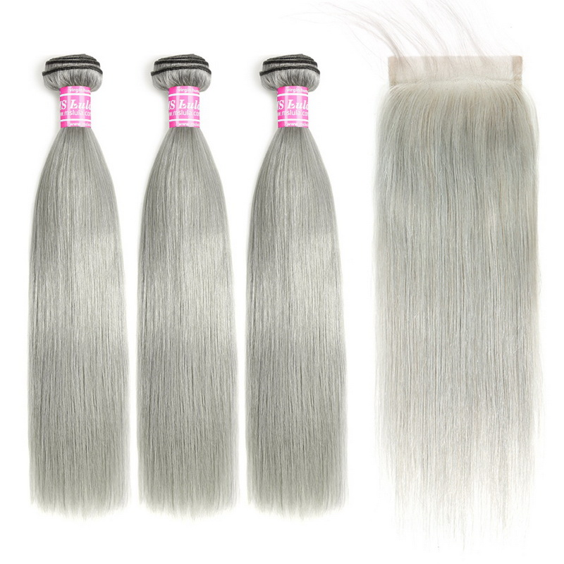 Grey Silver Virgin Natural Straight Hair Bundles With 1 Lace Closure