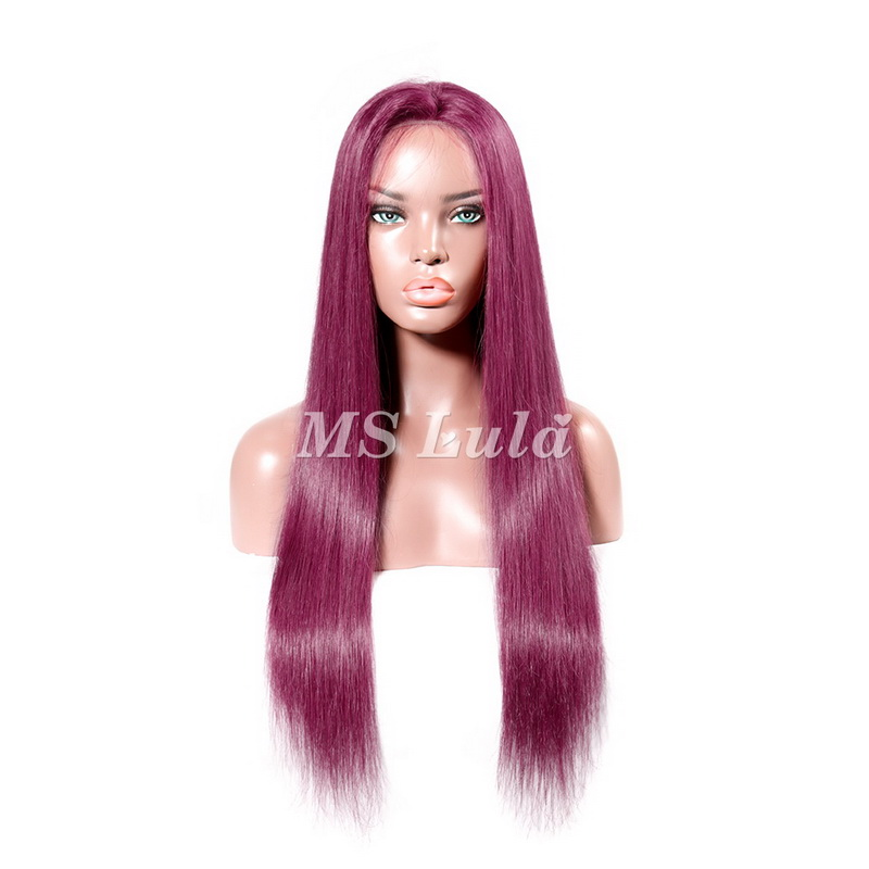 Burgundy Color Human Hair Silky Straight Lace Front Wig