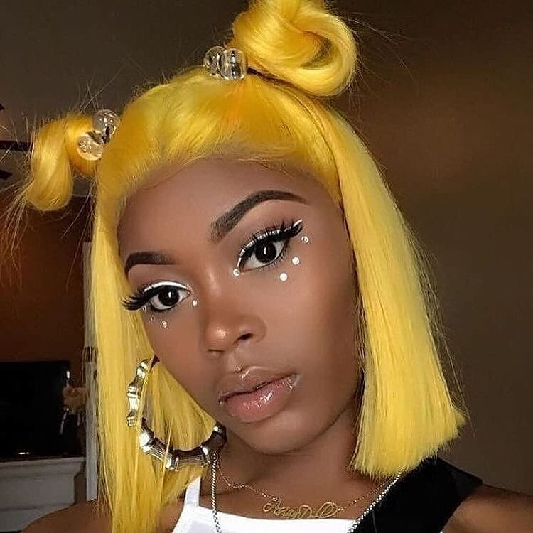 Yellow Color Straight BOB Lace Front Wig