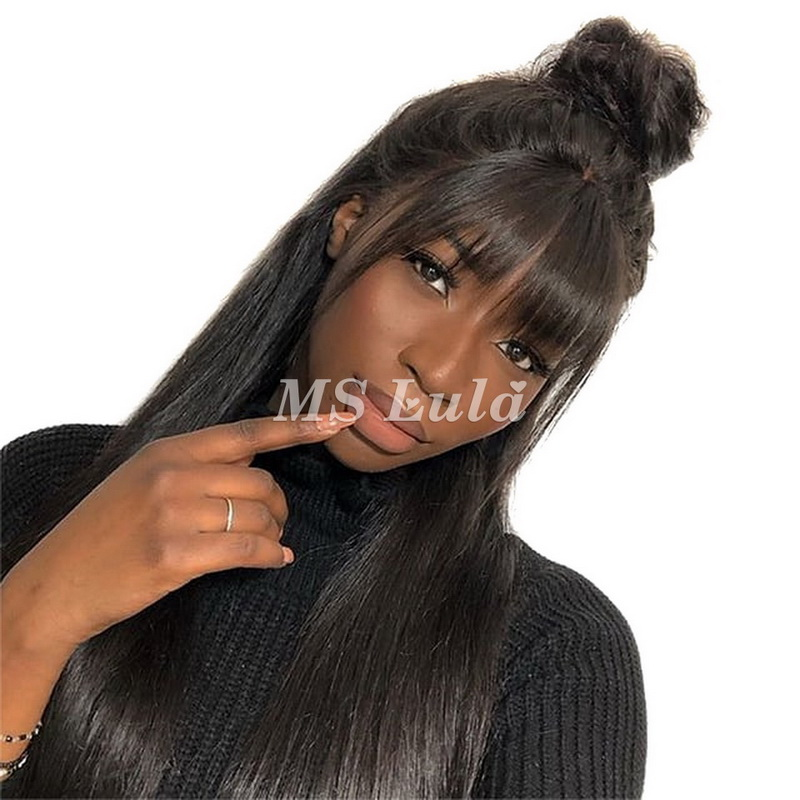 360 straight lace wig 180 density with bang