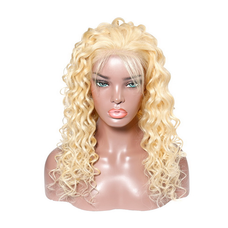 #613 Blonde Virgin Human Hair Lace Front Wig Roman Curly