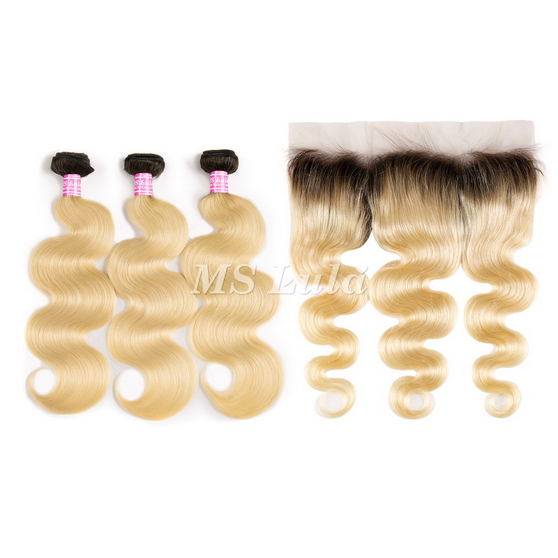 Black Roots 1b/613 Ombre Color Body Wave Virgin Hair Bundles With 13x4 Lace Frontal