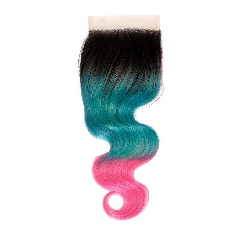 4X4 Lake Blue Ombre Peach Color Body Wave Lace Closure
