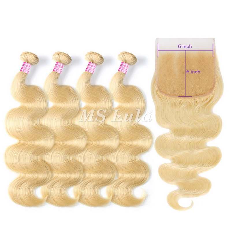 613# Virgin Body Wave Hair Bundles With 6x6 Lace Closure